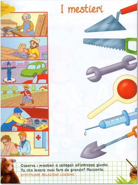 Disegni attivit lavoretti per bambini mestieri - Libri di scuola materna stampabili gratuitamente ...